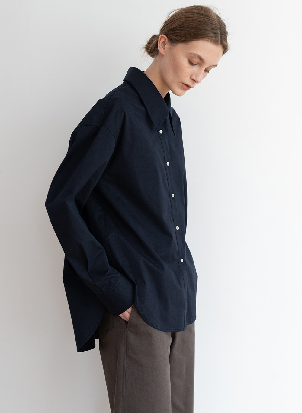 [ESSENTIAL] 포플린 Poplin Shirt Dark-navy