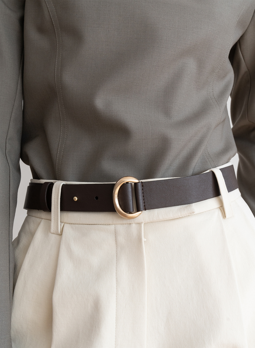 [ESSENTIAL] Gold Ring Belt Brown