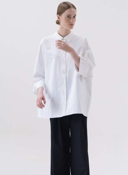 SS20 시어서커 Seersucker Wide Shirt White