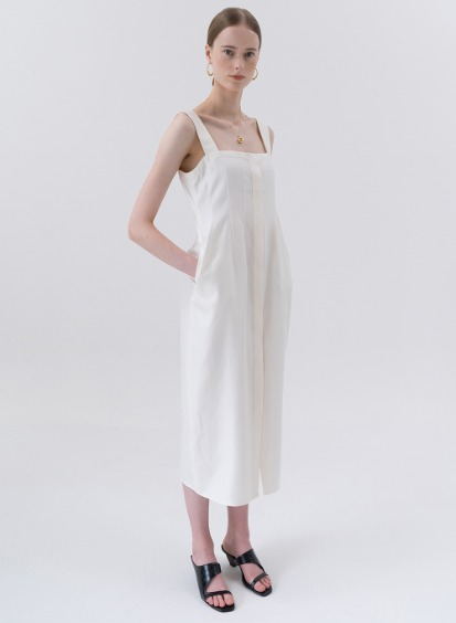 SS20 실크 Jacquard Silk Slip Dress White