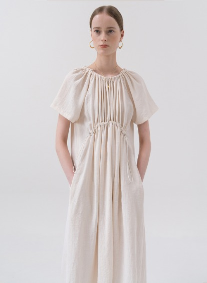 SS20 Drawstring Dress Cream
