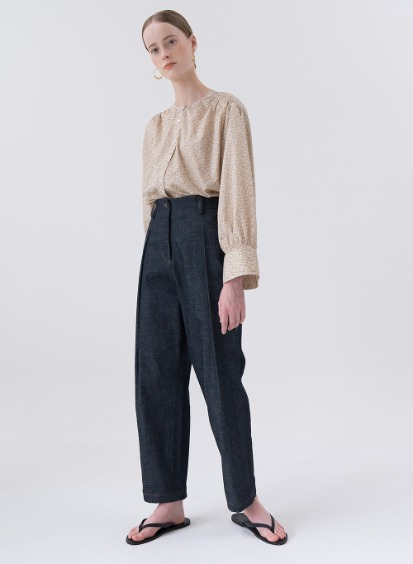 SS20 Structured Tuck Jeans Dark-Navy