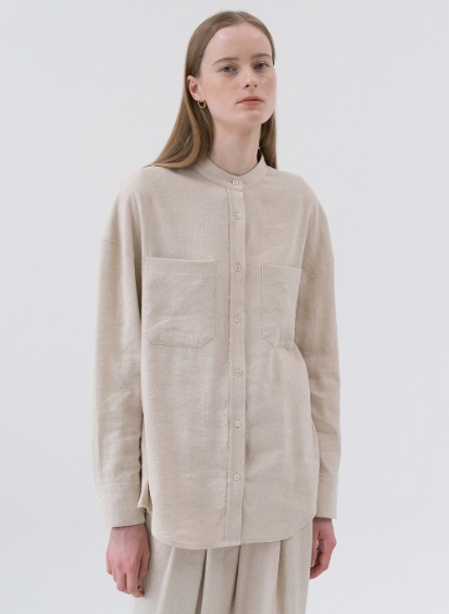 SS20 실크/린넨 Silk Linen Mix Shirt Natural