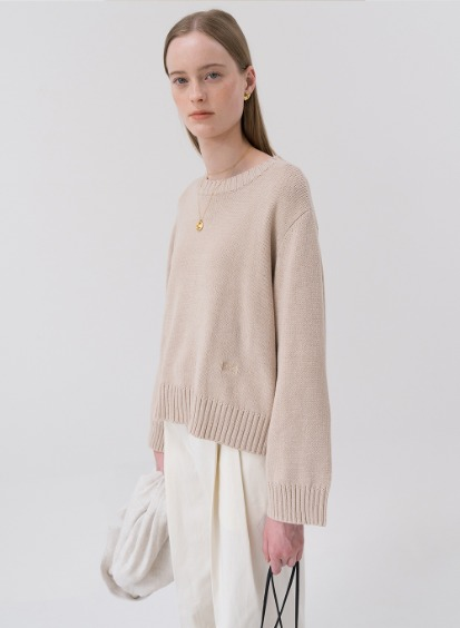 SS20 Plain Pullover Knit Beige