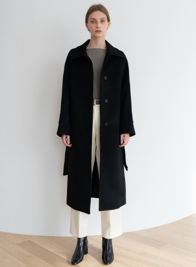 [ESSENTIAL] 캐시미어 Salome Coat Black 벨트 Belt