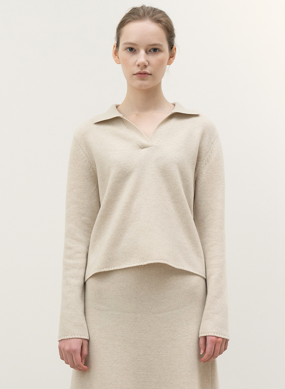 FW20 Polo Neck Knitted Sweater Natural
