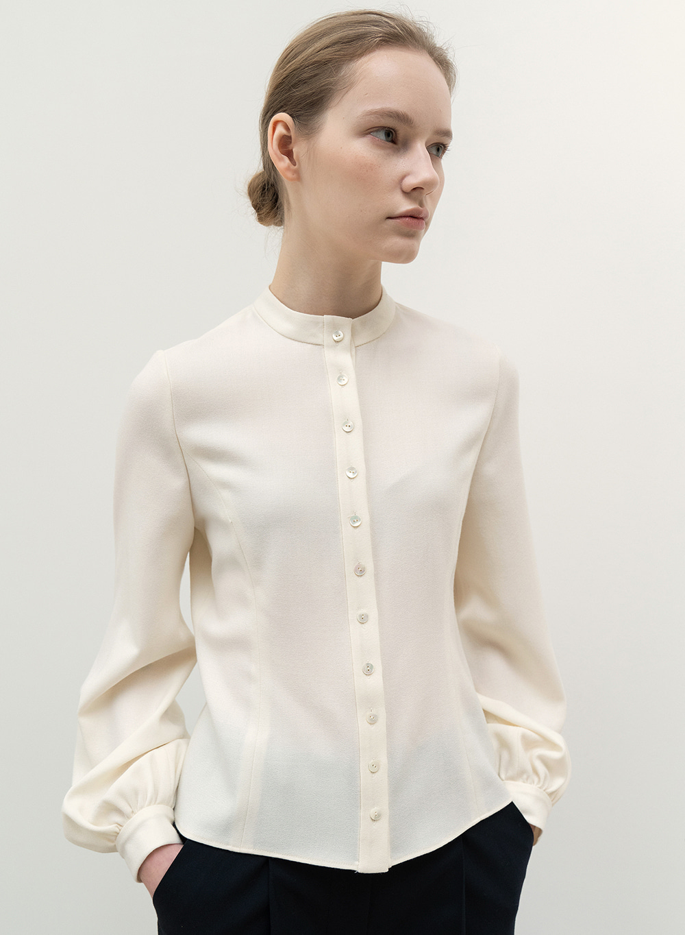 FW20 Classic Fine Wool Blouse Ivory