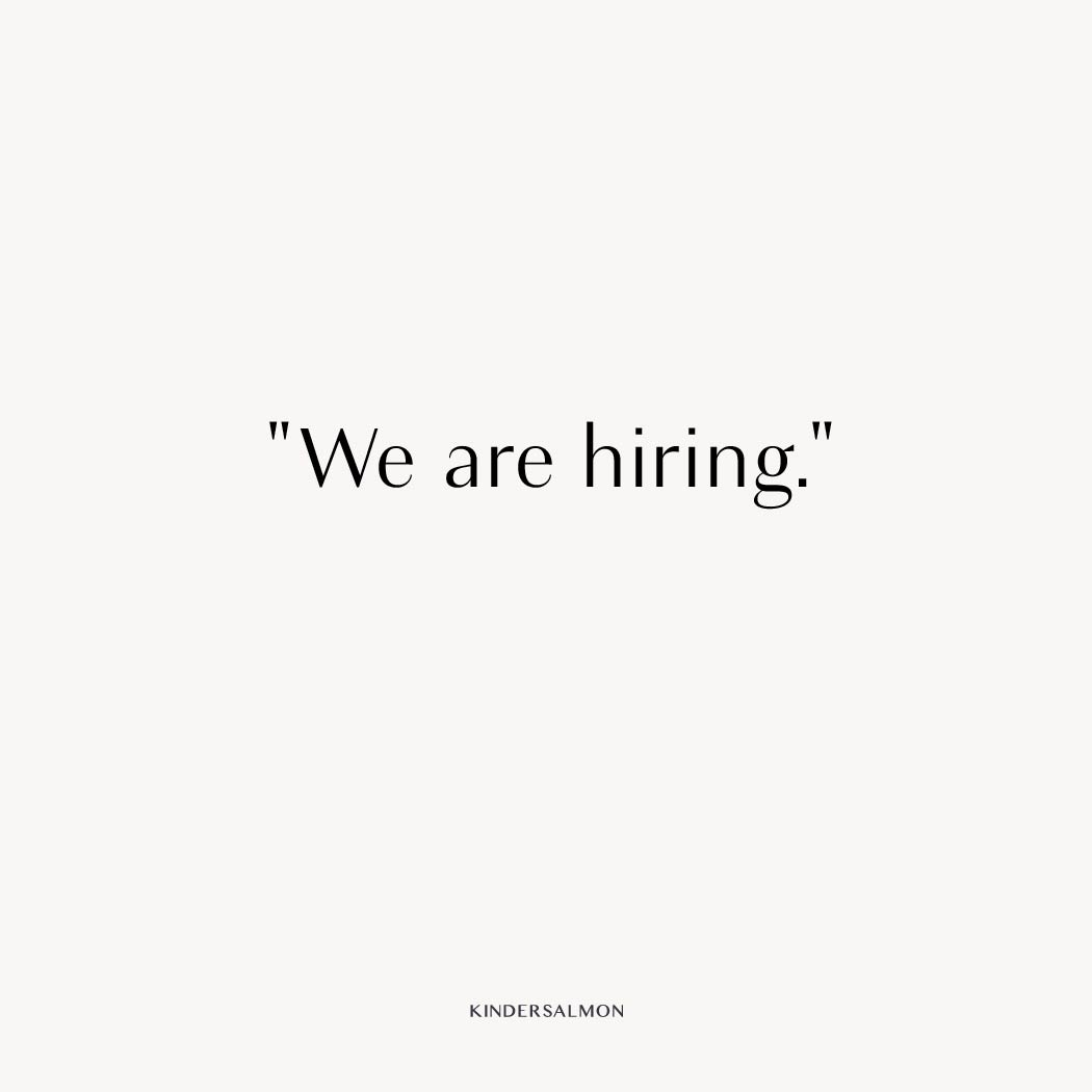 """We are hiring"""