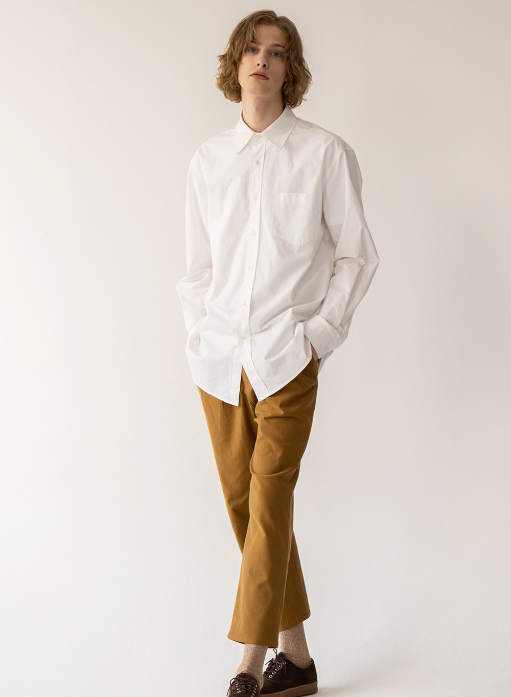 [FW20 ESSENTIAL] Premium Overshirt From Italy (CANCLINI) White