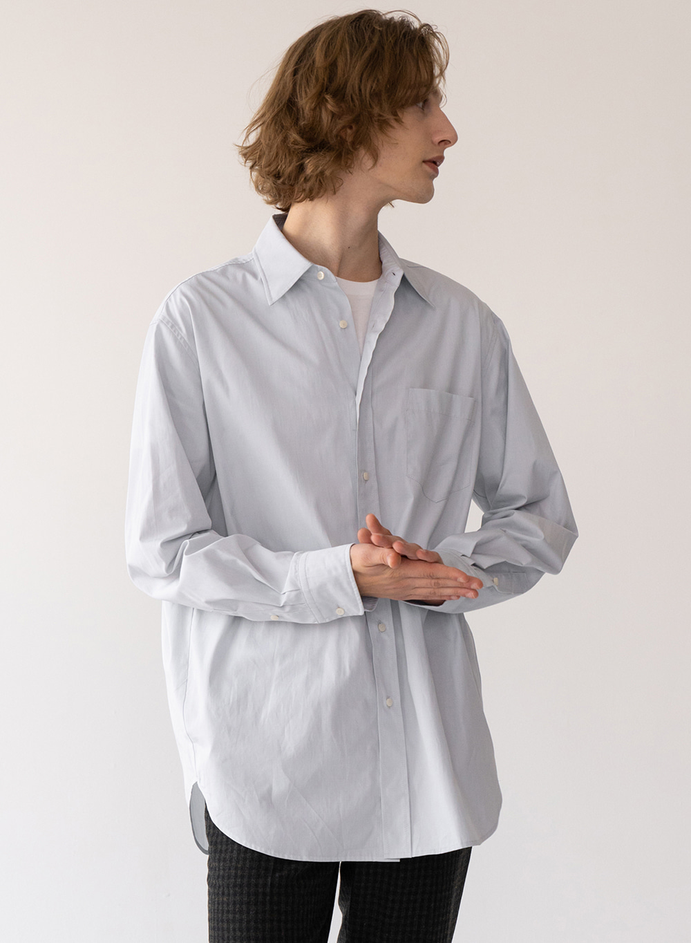 [FW20 ESSENTIAL] Premium Overshirt from Italy (CANCLINI) Pale-blue