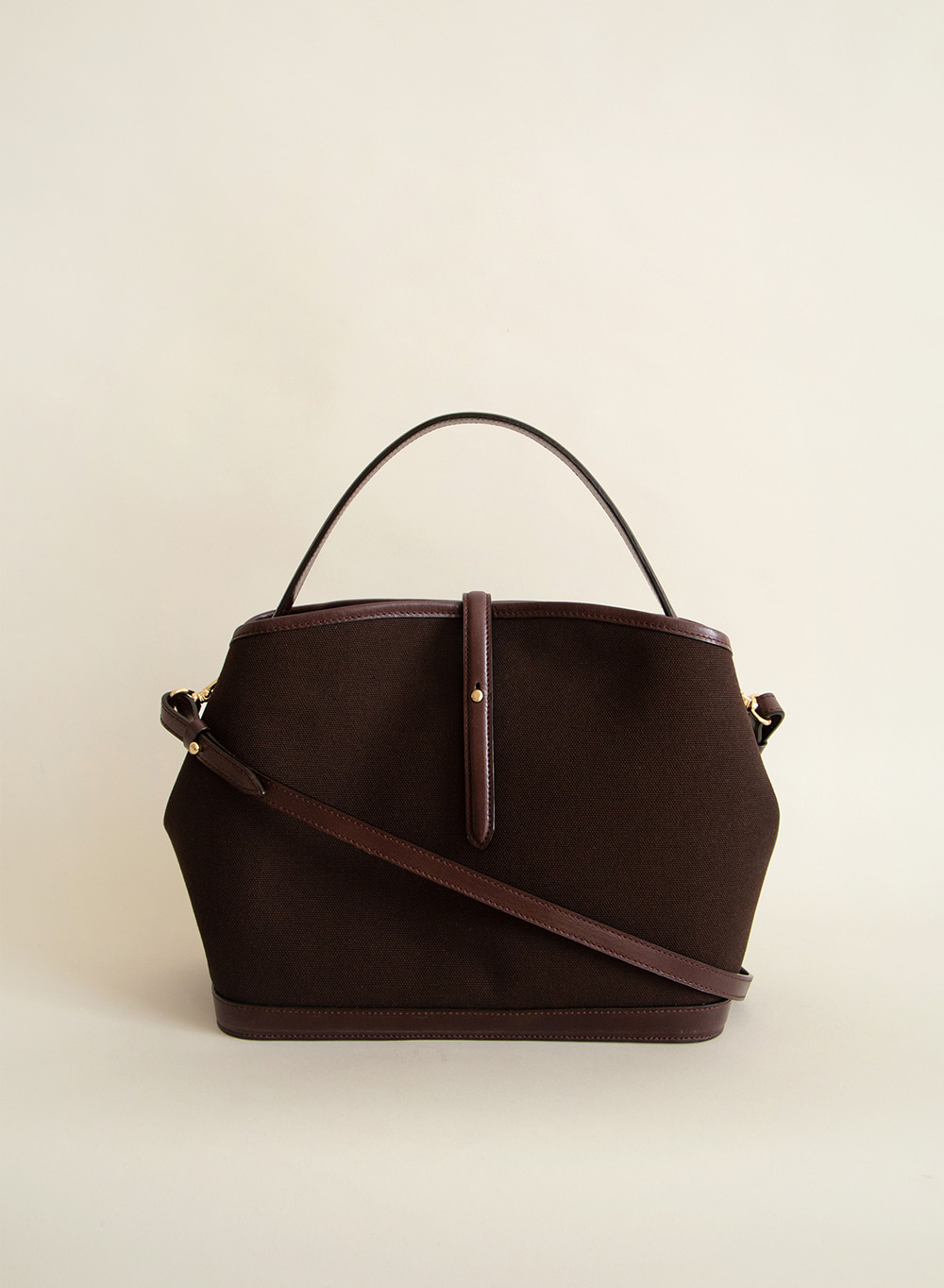 [FW20 ESSENTIAL] Lowell Leather Canvas Crossbody Dark Brown