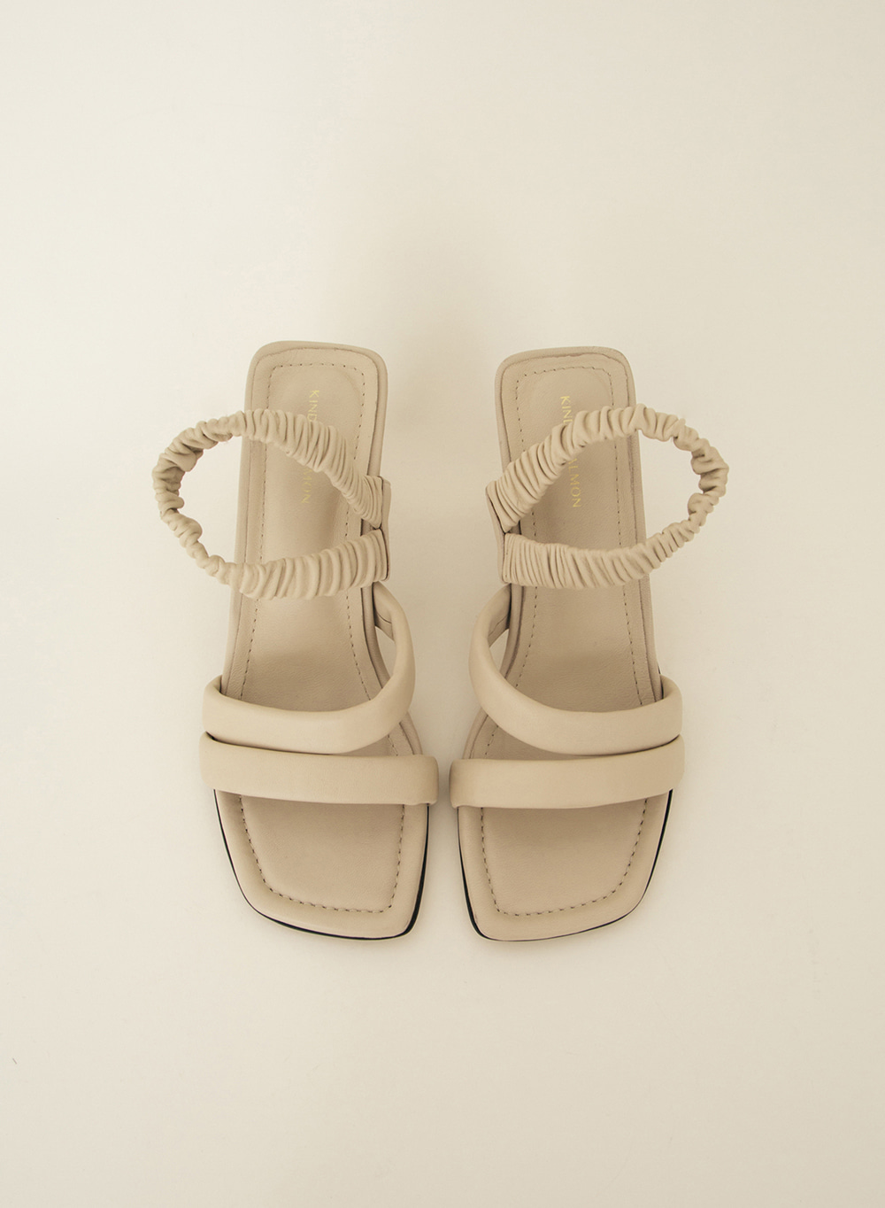 SS21 Ruched Strap Sandals Beige