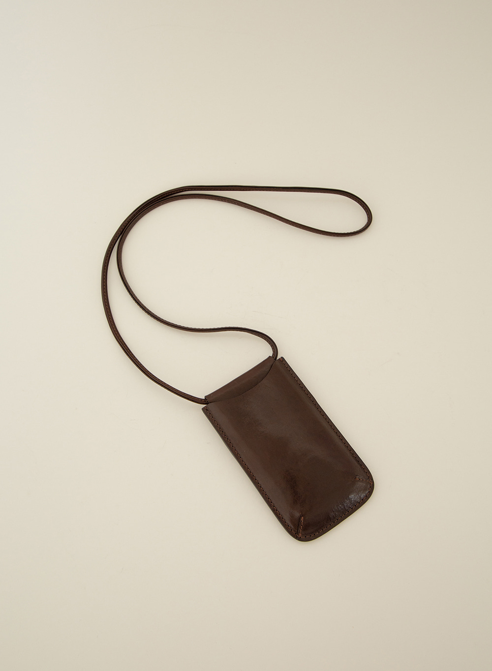 SS21 Mini Crossbody Wallet Dark Brown