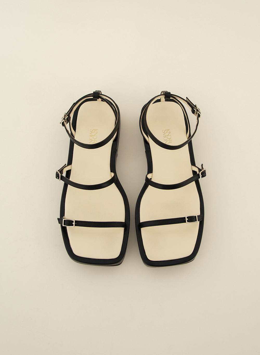 SS21 Leather Strap Wedge Sandals Black
